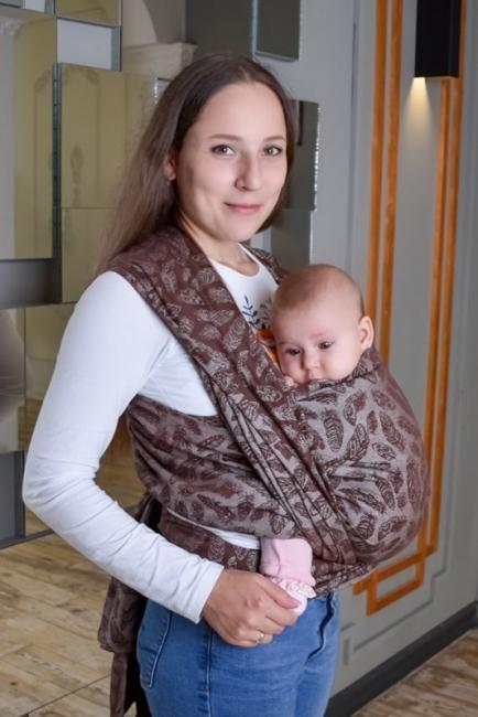 Слинг шарф шоколадный Feathers